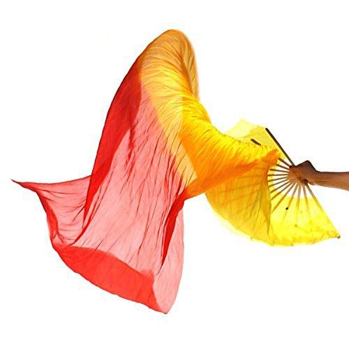 Zcargel nuevo 1,8 m hecho a mano danza del vientre bailando aficionados diseño de bambú de seda larga velos de colores