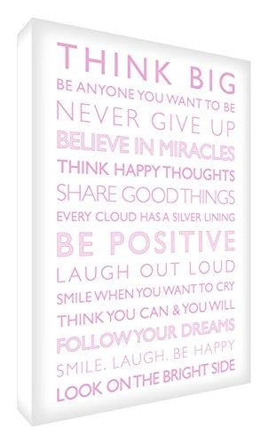 Feel Good Art Gallery - Cuadro de lona con panel frontal sólido (60 x 40 x 4 cm, color blanco/rosa suave, Be Positive de la colección Inspiration)