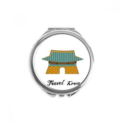 DIYthinker corée du sud gwanghwamun porte miroir rond maquillage de poche à la main portable 2,6 pouces x 2,4 pouces x 0,3 pouce Multicolore