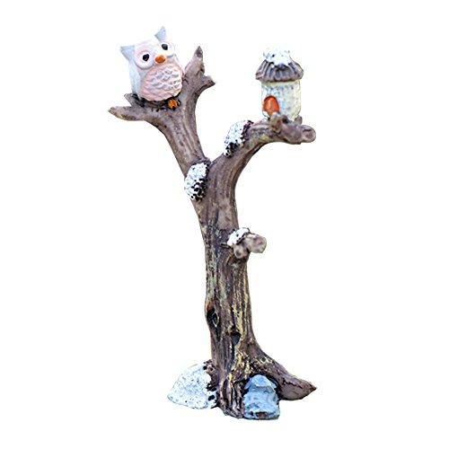 cupcinu Miniatur Fairy Garden Eule auf Baum Figur Ornaments Puppenhaus DIY Zubehör Garten Home Decor (5.1x 8.6cm), Kunstharz, grau, S