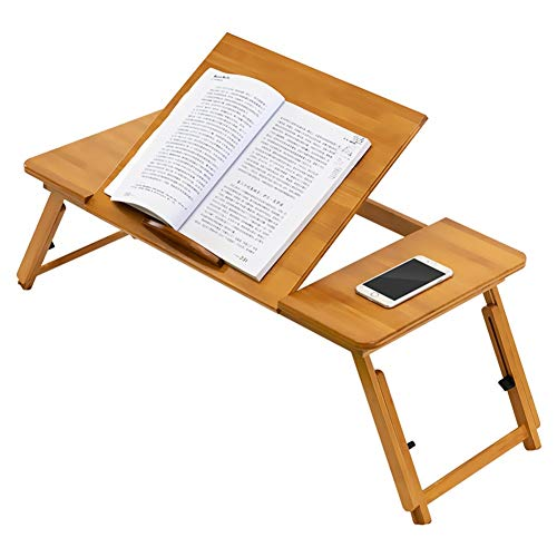 Jiaju Mesa plegable, naturaleza de bambú de la computadora portátil de la naturaleza Escritorio de computadora simple con ventilador para cama sofá plegable regalo de computadora portátil ajustable en
