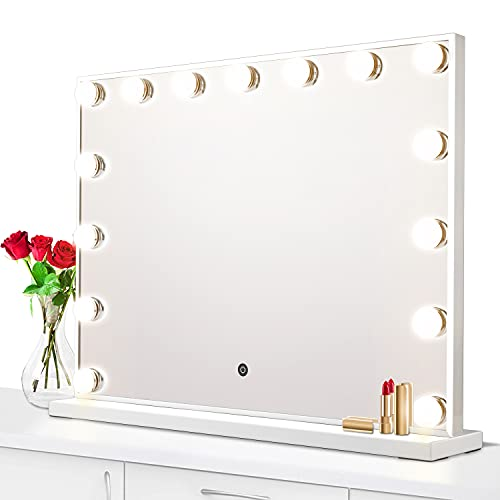 Vanity Mirror with Lights, Large Hollywood Lighted Makeup Mirror with 15-Dimmable LED Bulb, 3-Color Mode, Touch Control, Memory Function, Slim Frame Tabletop Light Up Mirror for Dressing Room, Bedroom