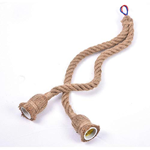 Fydun Base de lámpara Colgante de Cuerda, 1Pc Lámpara Colgante de Cuerda Vintage Lámpara de Techo Lámpara Loft Creativo Industrial sin Bombilla Estilo Retro Decoración(Double Head-1 Metro)