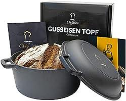 Gusseisen Topf 26 cm eingebrannt Induktion kompatibel - 2 in 1 Bräter Gusseisen mit Deckel 4.6L - Gusseisen Topf Brot...