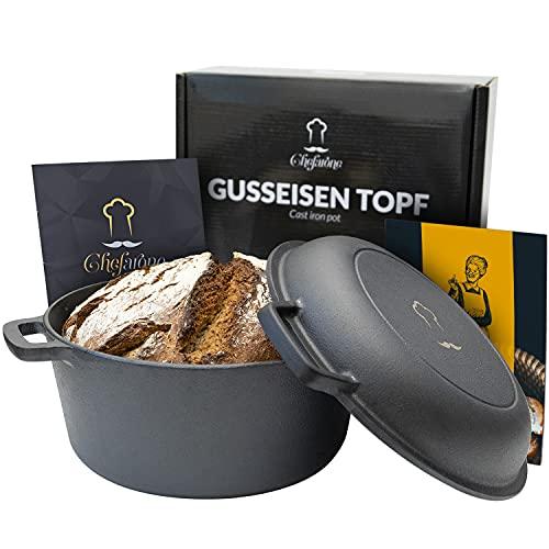 Gusseisen Topf 26 cm eingebrannt Induktion kompatibel - 2 in 1 Bräter Gusseisen mit Deckel 4.6L - Gusseisen Topf Brot backen - Bratentopf mit praktischer Doppelfunktion - Brotbacktopf mit Deckel