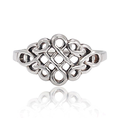 Chuvora 925 Sterling Silver Celtic Infinity Knot Band Ring for Women - Nickel Free, Size 8