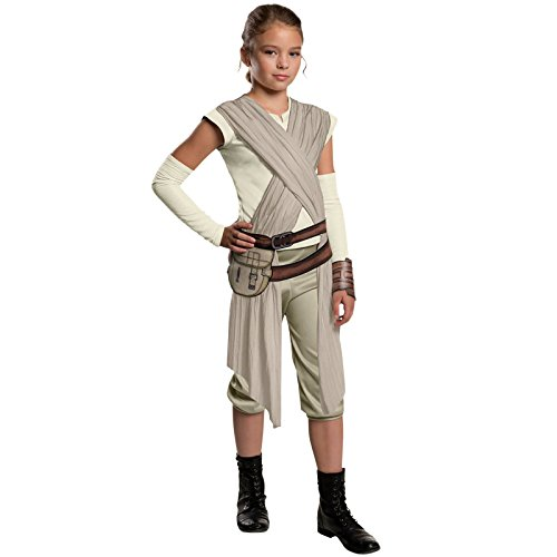Star Wars - Costume de pour Enfant la Guerre des Etoiles 7 Rey 4 pièces Combinaison écharpe Ceinture Sac brassières Nature Gris - S