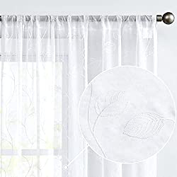 Sheer Curtains with Embroidered Leaves
