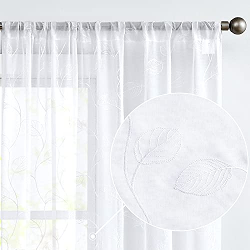 White Sheer Curtains for Living Room Leaf Tile Embroidered Window Curtain Rod Pocket Leaf Geometric Embroidery Drapes Bedroom Kitchen 63 inch 2 Panels