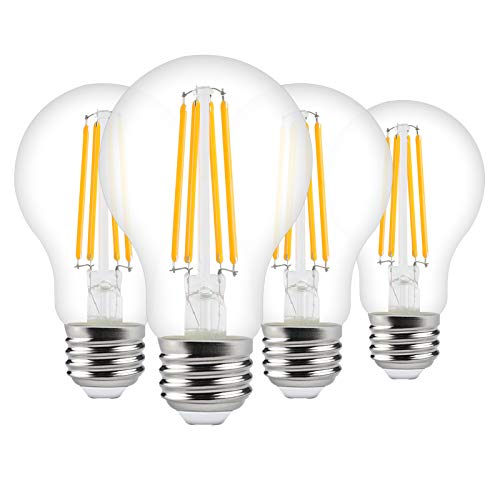 Ganiude A19 LED Dusk to Dawn Light Bulbs Outdoor,6W(60W Equivalent),Photocell Sensor 2700K Warm White 650LM,Auto On/Off Edison E26 Filament Bulb for Porch Hallway Patio Indoor Outdoor Lighting,4 Pack
