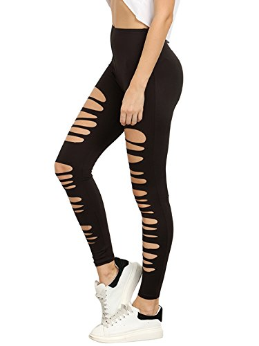SweatyRocks Leggings Women Cutout Skinny Tights Ripped Yoga workout Pants , Black , Medium