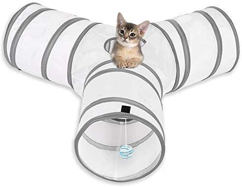 MFEI Cat Play Tunnel, Pet Tunnel 3-Wege Crinkle Collapsible Tube Toy Tunnel für Katzen Kaninchen, Hunde, Haustiere Vatertagsgeschenk für Sein Haustier