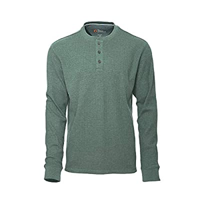 American Outdoorsman Mens Long Sleeve Waffle Henley Shirt Thermal Pullover Shirt for Hiking and Camping Olive Heather