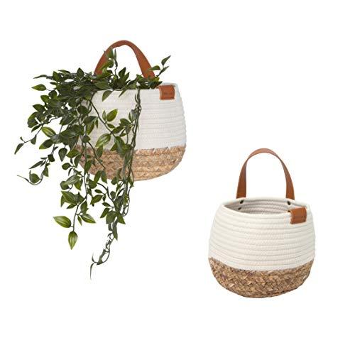Cotton Casa Hanging Planters Indoor Set of 2 | Handmade 100% Natural Cotton | Boho Room Decor | Hanging Baskets for Plants | Planters Indoor | Including White Gift Bag
