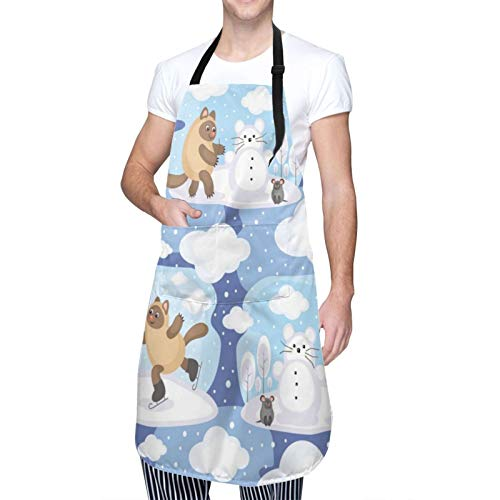 Cartoon Style Amusing Cat and Mouse Apron Husband Adjustable Commercial Apron Bib Butcher Apron with Pockets