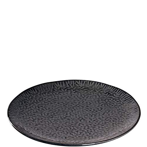 Leonardo Matera Keramik-Teller 4-er Set spülmaschinengeeignete Platzteller, Pizza-Teller mit Glasur, 4 runde Steingut-Teller, Ø 32 cm grau, 018605