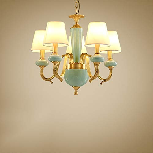 AYHa Beleuchtung Kronleuchter, American Copper Porzellan Kronleuchter - Beleuchtung Restaurant, Luxusbeleuchtung, Umgebungslicht,66 * 66 * 53cm-5 Köpfe