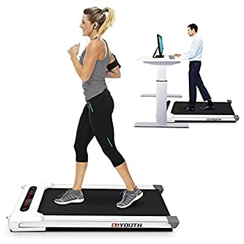 Goyouth 2 in 1 Under Desk Electric Treadmill Motorized Exercise Machine with Wireless Speaker Remote Control and LED Display Walking Jogging Machine for Home/Office Use