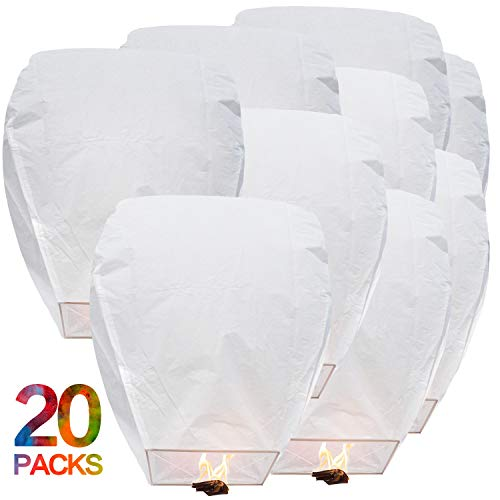BATTIFE Sky Lanterns Chinese Flying Lanterns Biodegradable Paper Full Assembled...