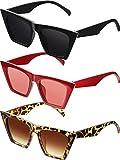 3 Paia Vintage Occhiali da Sole Quadrati Occhiali da Sole Grandi di Occhi di Gatto Occhiali da Sole Unisex alla Moda Cateye