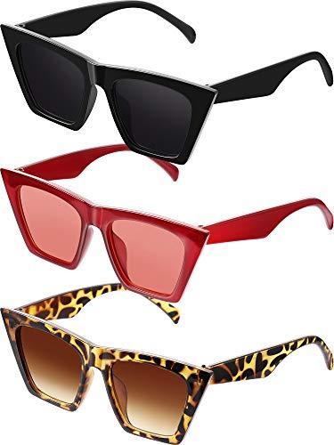 Frienda 3 Paare Vintage Platz Katze Auge Sonnenbrille Unisex Klein Modisch Katzenauge Sonnenbrille