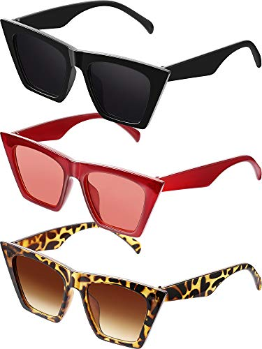 3 Paare Vintage Platz Katze Auge Sonnenbrille Unisex Klein Modisch Katzenauge Sonnenbrille