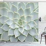 ABAKUHAUS Kaktus Duschvorhang, Kaktus-Blumen Foto, Leicht zu pflegener Stoff mit 12 Haken Wasserdicht Farbfest Bakterie Resistent, 175 x 200 cm, Grün