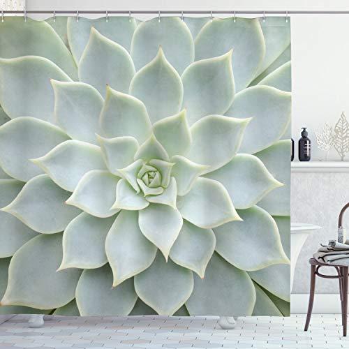 ABAKUHAUS Cactus Douchegordijn, Cactus bloemen foto, stoffen badkamerdecoratieset met haakjes, 175 x 220 cm, grijs-groene kleur