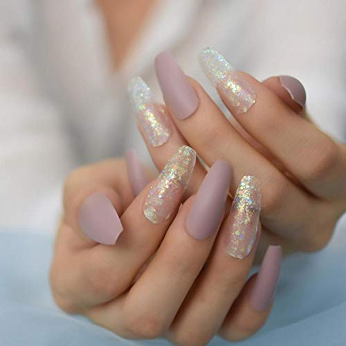 JSIYU Faux ongles Shimmer Glitter Press on False Nails Extra Long Ballerina Fake Fingersnails Extention Tool, F116 G