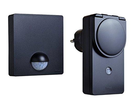 Funk-Bewegungsmelder und 1 Funk Steckdose für Aussen und Set 12S, Farbe Schwarz