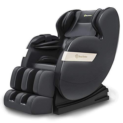 Real Relax Massagesessel Zero-Gravity für Ganzkörper mit Wärmefunktion, Bluetooth und LED-Licht für zu Hause und im Büro (F3 Plus, schwarz)