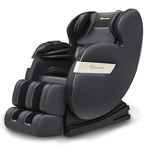 Real Relax Massagesessel, Zero-Gravity Massagestuhl für Ganzkörper mit Wärmefunktion Bluetooth Luftdruckmassage für Hause Büro, Favor-03 PLUS