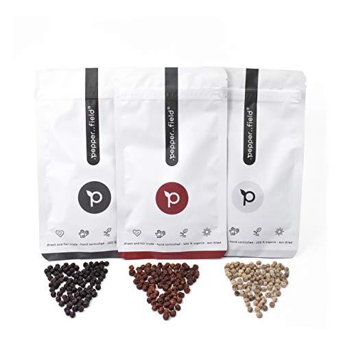 Pepper Field Kampot Pfeffer Mischung, 3x 20g Pfeffer Sorten (schwarzer Pfeffer, weißer Pfeffer, roter Pfeffer), Pfeffer grob, Pfefferkörner ganz