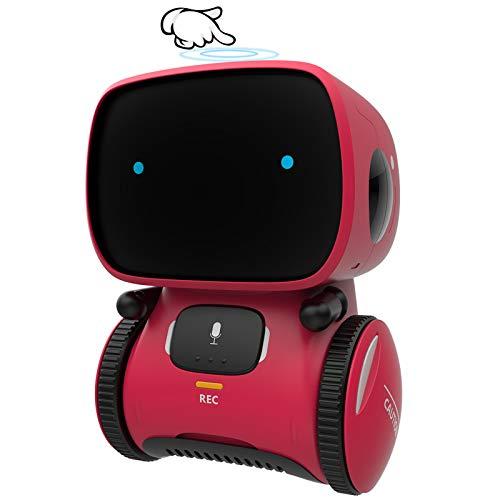 GILOBABY Juguete Robot para Niños,Robot Interactivo con Control por Voz y Tocar Inducción,Robot Inteligente con Baile y Canto y Grabadora ,Regalo para Niño Niña Mayores de 3 Años(Rojo)