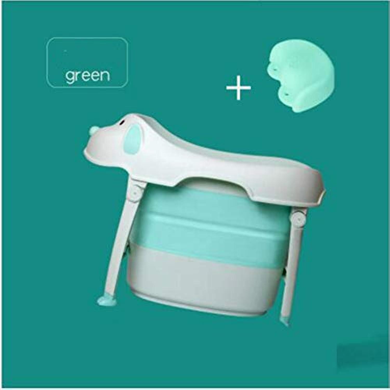 LWM Faltbare Badewanne, kindersichere tragbare Babybadewanne für Kinder von 6 Monaten bis 10 Jahren,Grün,XXXL