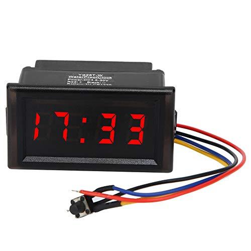 EBTOOLS Multifunktionale elektronische Uhr, DC 4.5-30V ABS wasserdicht staubdicht Auto Auto elektronische Uhr LED Digitalanzeige für Auto LKW(RED)