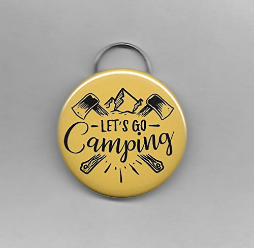 "Let's Go Camping Metal Bottle Opener with Hanger Ring Kitchen Bar Outdoor Camping 2-1/4"" Round, Light Green"