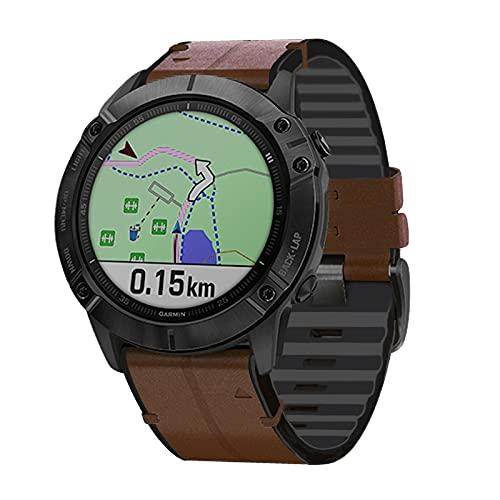 TopTen Correa para reloj deportivo Leahter de ajuste rápido de 26 mm, accesorios de repuesto para reloj inteligente Garmin Fenix 5X/Fenix 6X/Fenix 6X Pro/Fenix 3/Fenix 3 HR/Descent MK1 (café)