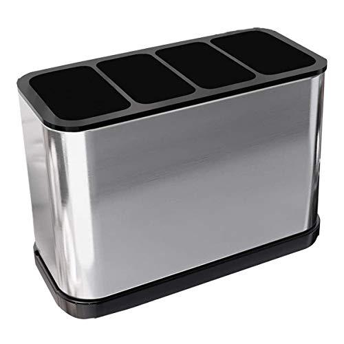 Kitchen Utensil Holder for Countertop Flatware Organizer Stainless Steel Rust Proof Utensils Crock Holder Organizer
