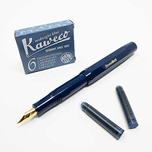 Füllfederhalter Classic Sport von Kaweco | Füller mit Federbreite M | Mit sechs blauen Tintenpatronen GRATIS | Farbe des Füllhalters: navy