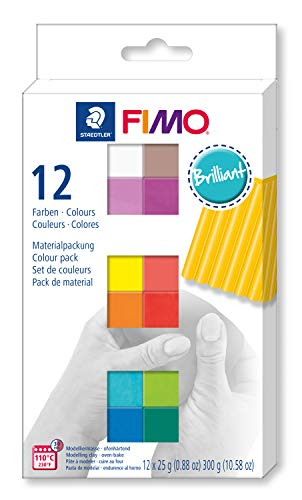FIMO soft ofenhärtende Modelliermasse. Kartonetui mit 12 sortierten Brillant-Farben.
