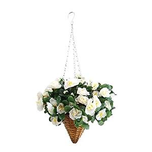 19.7″ Wicker Cone Basket Silk Flower Azalea Fake Hanging Flowers Rhododendron White