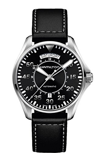 Hamilton Men's 'Khaki Aviation' Swiss Automatic Stainless Steel and Black Leather Casual Watch (Model: H64615735)