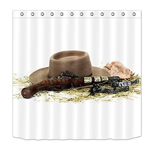 ZZZdz Cowboy Hoed Pistol. Sjaal. Woondecoratie. Douchegordijn. 180 x 180 cm. 3D Hd Afdrukken. Waterdicht. Eenvoudig te reinigen. 12 vrije haken.