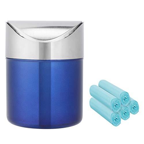 Mini-Abfalleimer-Set, Tischabfalleimer mit Deckel,gebürsteter Edelstahl, Schwingdeckel, mit Müllbeutel, für Auto, Küche, Arbeitsplatte, 1,5 l, Blau