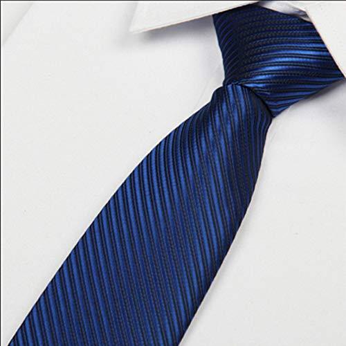 COLILI Dunkelblaue Herren Krawatte 8Cm Herren Krawatten Polyester Gestreifte Seide Lässig