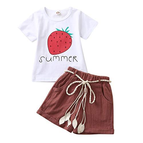 upxiang - Conjunto de ropa de bebé sin mangas, camiseta + estampado de flores, bonito y casual, 2 piezas, juego para niña de 2 a 7 años Vino 4 años