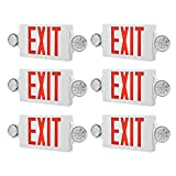 AKT LIGHTING LED Emergency Light & Exit Sign Combo, Red Exit Sign, UL Certified Emergency Exit Light, Adjustable Lamps with Back-up Battery (Red, 6 Pack)