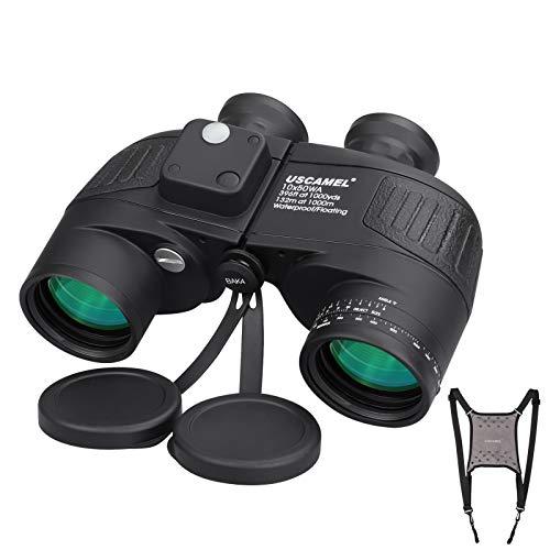 10x50 Marine Binoculars for Adults, Military Binoculars Waterproof with Rangefinder Compass BAK4 Prism FMC Lens Boating Fishing Fogproof Black