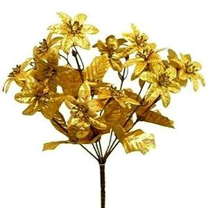 Silk Flowers Fake Miniature Bouquet 21 Gold Mini Poinsettias Metallic #AFFTM